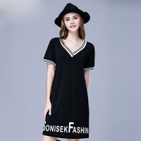 European market and the US market overweight large size ladies summer new style cotton Slim large v-collar flexible printed short-sleeved dress