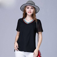 European market and the US market overweight large size ladies summer new style short-sleeved T-shirt fashion color stitching Slim small v-collar chiffon shirt
