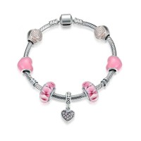 Japanese pop high-end jewelry discounts s925 sterling silver bracelets pink heart-shaped bracelet a string of beads