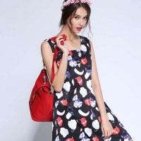 Amoi sweet digital printing V-shaped collar waist dress vest skirt A-shaped skirt slim