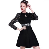 Autumn new models in Europe and the US market fashion hollow embroidery lace juxtaposition long-sleeved dress A-shaped skirt autumn