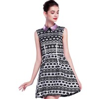 Waist skirt autumn new models in Europe station A-shaped sleeveless waist dress ladies fashion lapel print dress