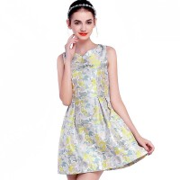 European stations autumn new style small V-shaped collar skirt elegant sleeveless Slim waist princess dress Jacquard