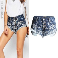 Summer in Europe and the US market a new style embroidery frayed denim shorts curling wide leg pants Ms. fringed discounts