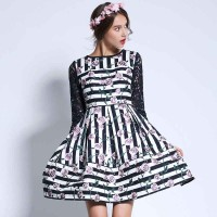 European stations autumn new models waist big swing princess dress striped jacquard stitching lace dress Ms.