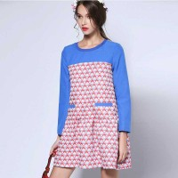 Autumn new models round neck long-sleeved dress loose slim colorful jacquard stitching waist skirt special lady