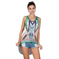 Summer hot selling printing casual vest large size loose all match vest breathable beach discounts