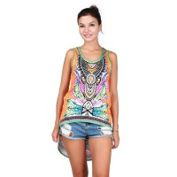 Low price hot selling colored printing irregular small vest loose big yards Waichuan casual all match shirt