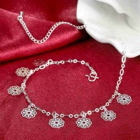 Popular in Europe and the US market, international fashion brand flower shape silver anklets foot showcase ornaments couple models hot selling good quality hot sales