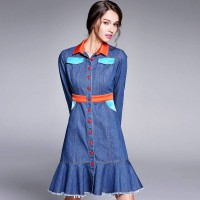 Autumn new models in Europe and the United States market as lapel long-sleeved denim colorful fishtail skirt irregular edges like denim skirt dress Ms.
