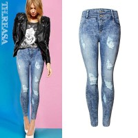 Station snowflake jeans Autumn new European style, Ms. elastic waistband Slim stretch pencil pants