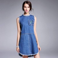 Amoi style round neck sleeveless denim dress Slim slim fashion lace stitching simple flash ladies skirt