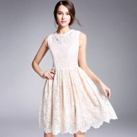 Amoi long style special section lace embroidered openwork stitching sleeveless dress lady