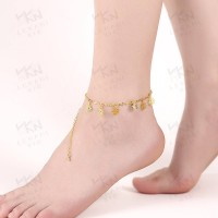 International fashion brand gold anklets fashion jewelry flower shape pattern in Europe and the US market, low prices good quality hot selling jewelry