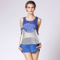Wide Songsi love yarn splicing summer new models in Europe and the US market fashion sleeveless A-shaped jacket small vest