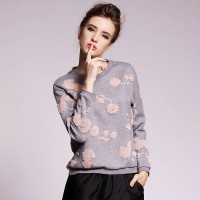 Autumn new style fashion loose long-sleeved round neck three-dimensional flowers embroidery pattern sweater Blouse