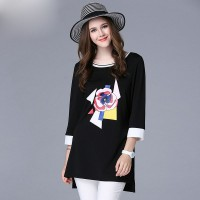 Mature women large size women in Europe and the US markets autumn fashion loose t-shirt tops 200 pounds increased promotional discounts member price