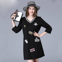 Large size women in Europe and the United States market new fall overweight lady cartoon style v-collar slim casual dress discount