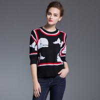 Ms. installed new European station Hitz Slim casual cotton knit colorful animal print sweater discount