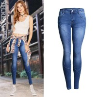 European stations Ms. Ms. autumn decoration body stretch jeans trousers new style cross stitch fight off pencil pants big yards