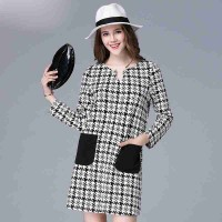 Loose large size women in Europe and the US market overweight lady autumn new models long-sleeved houndstooth dress pocket member price discounts
