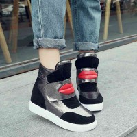 New lady wedge shoes high-top Velcro casual shoes breathable internal high-heeled ladies shoes student shoes