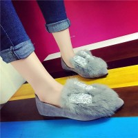 European stations fall and winter warm Miss Mao Maoxie cotton flat shoes flat casual toe head diamond decoration genuine rabbit Ms. shoes