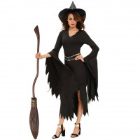Halloween two new models fitted black long-sleeved V-shaped collar with belt evil witch style stage costumes decorated 8983