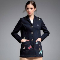 European stations autumn new models lapel long-sleeved denim jacket style embroidery loose denim clothing Blouse