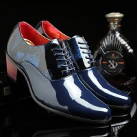 Pointed leather shoes British style men's casual shoes 6cm internal high-heeled shoes high-heeled wedding shoes