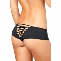 Black low-waist drawstring with a hollow cross back style lace open file sexy thong / underwear 75088 Ms. sense