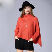 European market and the US market fall and winter large size women new style ladies loose sweater overweight ladies irregular simple woolen high collar shirt