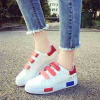 Summer Student colored sneakers Miss Bai Xie thick heel casual shoes Velcro shoes