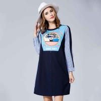 Large size women in Europe and the US market increased easing autumn new style navy striped wind printing stitching long-sleeved dress