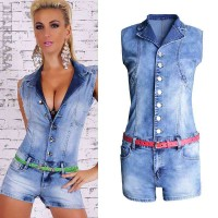 Single-breasted summer European market and the US market sexy tight denim jumpsuit Slim piece pants