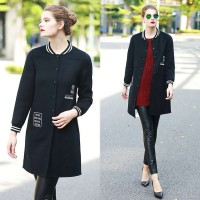 Europe station new winter fashion models solid trend of double-sided wool coat jacket design models lengthened