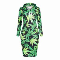 Low price hot sales cannabina digital printing plus thick velvet hooded sweater dress loose Promotions