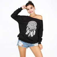 Fall Winter new style high quality digital printing loose feathers and velvet strapless slanting collar sweater Ms.
