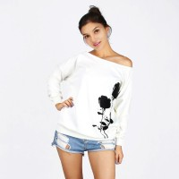 Autumn and winter hot sales rose prints white strapless wide Songane cashmere sweater market in Europe and the United States womens promotion