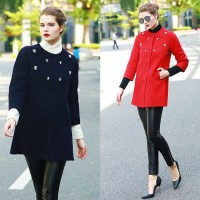 Europe station fashionable high-end hand-inlaid diamond solid color double-sided wool coat in Europe and the US market thicker coat Slim