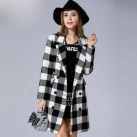 European market and the US market large size women new autumn and winter styles overweight ladies loose slim double-breasted lapel plaid jacket