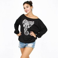 Hot sales abstract elephant pattern printing loose oblique strapless plus thick velvet hip-hop fashion sweater