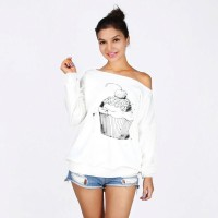 Hot selling cupcakes 3D printing simple oblique strapless long-sleeved cashmere sweater Womens Shirts