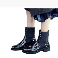 Popular autumn and winter new style leather boots lady casual boots rivet rough with Ms. Martin boots single boots