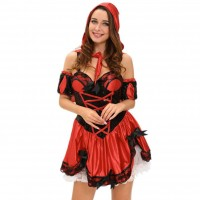 Little Red Riding Hood Halloween Dress hat back four bow wrist stage costumes 8977