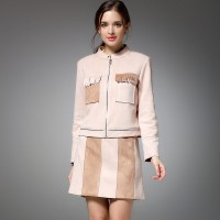 The new autumn and winter styles colorful suede suit dress ladies stand up collar short jacket style two-piece package hip skirt skirt