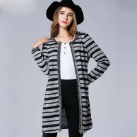 Large size women's Autumn new style knit cardigan overweight ladies stripe slim long style ladies coat