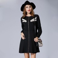 European market and the US market large size women's Autumn new models overweight slim zipper Ms. Slim models long-sleeved dress