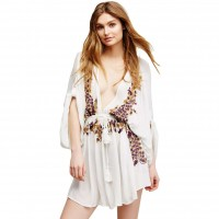 Seaside resort collar long-sleeved V-shaped flowers embroidered waist strap casual loose blouse beach sun dress 42115