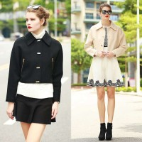 High-end women's European leg of the European market and the US market popular handsome wool coat solid color short style double-sided wool woolen jacket